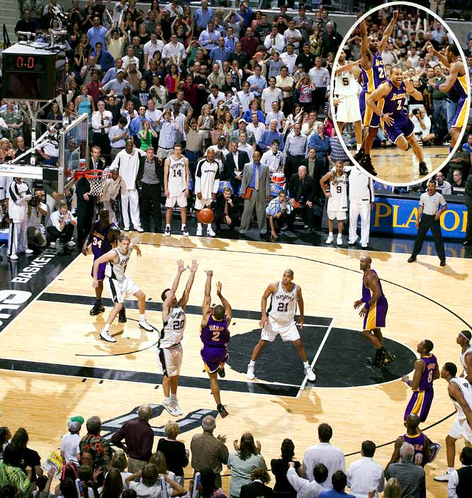 "The last-gasp shot-making elevated to all-time status this chapter of the NBA's best rivalry of the decade. After Tim Duncan made an improbable, go-ahead, off-balance 20-footer with 0.4 seconds left, Derek Fisher countered with a catch-and-shot 18-footer off an inbounds pass that gave the Lakers the victory and an all-important 3-2 series lead. (The Lakers closed it out in Game 6.) Shaquille O'Neal summed it up best: ""One lucky shot deserves another."""