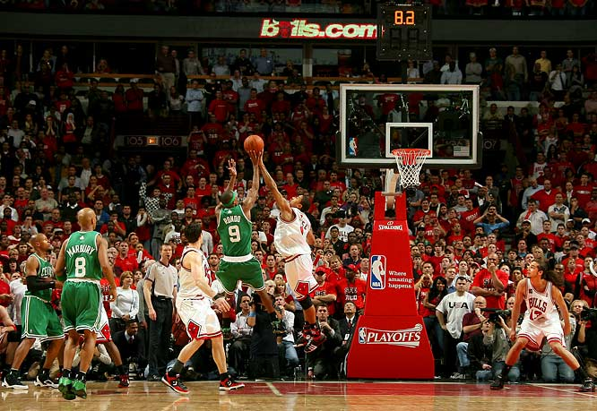 This was the game that accelerated talk that this opening-round series ranked among the best ever. The third consecutive overtime game of the series (and fourth overall) lasted 63 minutes and featured 51 points from Ray Allen, 35 points from John Salmons and an electrifying three-point play from Joakim Noah in the third extra period. Derrick Rose made the last big play of the night, blocking Rajon Rondo's potential go-ahead shot in the closing seconds. ''It's crazy,'' Rose said, ''but you got to love it.""