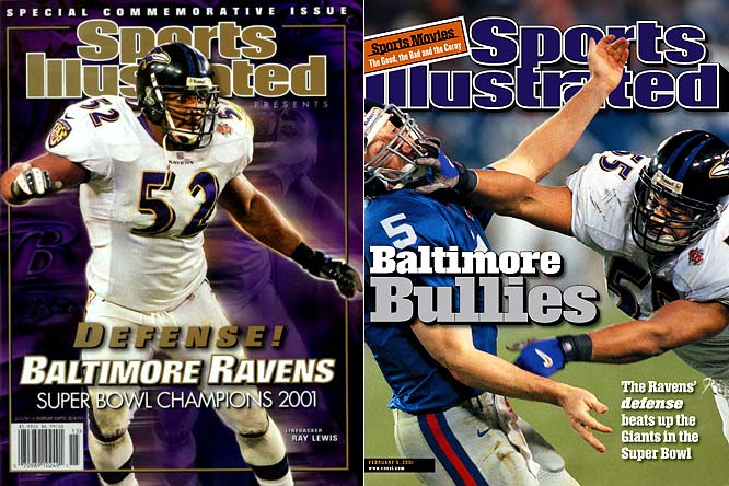 The Ravens' record-setting defense was on full display in Super Bowl XXXV. Led by Super Bowl MVP Ray Lewis, Baltimore forced five turnovers and limited the Giants to 152 yards in a 34-7 rout. Kerry Collins threw four interceptions and the Giants failed to advance beyond Baltimore's 29-yard line, scoring only on Ron Dixon's 97-yard kick return.