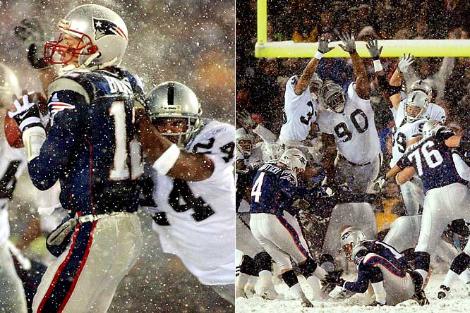 The Tuck Rule game was a classic for multiple reasons: 1) it was played in a snowstorm; 2) it marked the postseason coming-out party of Tom Brady, who led New England to a touchdown and two field goals in its final four possessions; and 3) it featured arguably the greatest clutch kicker in postseason history, Adam Vinatieri, who forced overtime with a 45-yarder and won it with a 23-yarder. Then there was the controversy. With under two minutes to play, Charles Woodson knocked the ball loose while sacking Brady at the Oakland 48. The Raiders recovered, but the ball was returned to the Patriots after the call was overturned on replay. Five plays later, Vinatieri forced overtime.