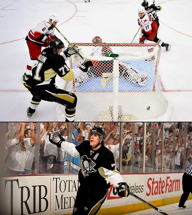 The youngest forward (22) to ever win the Conn Smythe Trophy, with 36 points in 24 games, the Russian center scored at least eight points in each of the Penguins' four playoff series. His biggest night was in Game 2 of the Eastern Conference finals against Carolina when he potted his first career playoff hat trick in a 7-4 rout. After snapping a 4-4 tie 8:50 into the third period, Malkin tallied a highlight-reeler less than four minutes later by picking up the puck in the corner, carrying it behind the net and beating goalie Cam Ward with a backhander off a spin move.