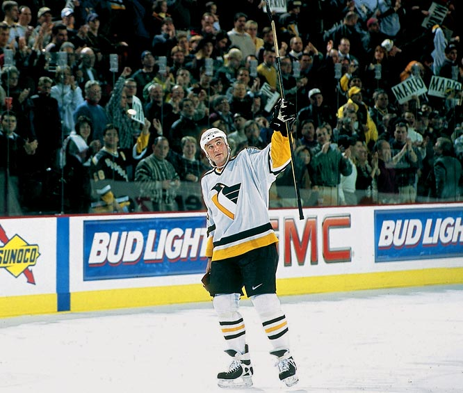 His career interrupted by Hodgkin's disease and back problems, the Penguins Hall of Famer and owner emerged from a three-year retirement to set up a goal on his first against the Toronto Maple Leafs. He later scored another and tacked on a second assist in a 5-0 win before an adoring crowd in Pittsburgh's Mellon Arena. Taking to the ice made Lemieux the first player/owner of modern major professional sports franchise. He finished the season with a remarkable 76 points in only 43 games.
