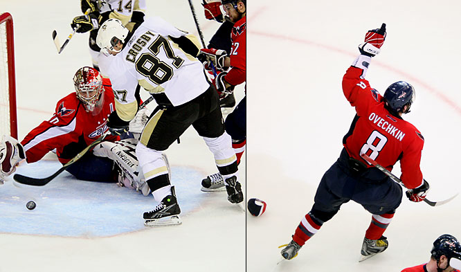"The league's two biggest stars traded hat tricks in Game 2 of their Eastern semifinal playoff series in Washington. Two of Ovechkin's tallies came in the final 7:07 of the third period, breaking a 2-2 tie. Crosby kept it close by batting a puck out of midair and past goalie Semyon Varlamov with 30.4 seconds left in the Capitals' 4-3 win that put the Penguins in a two-games-to-none hole. ""Sick game,"" Ovechkin said. ""Sick three goals by me and (Crosby)."""