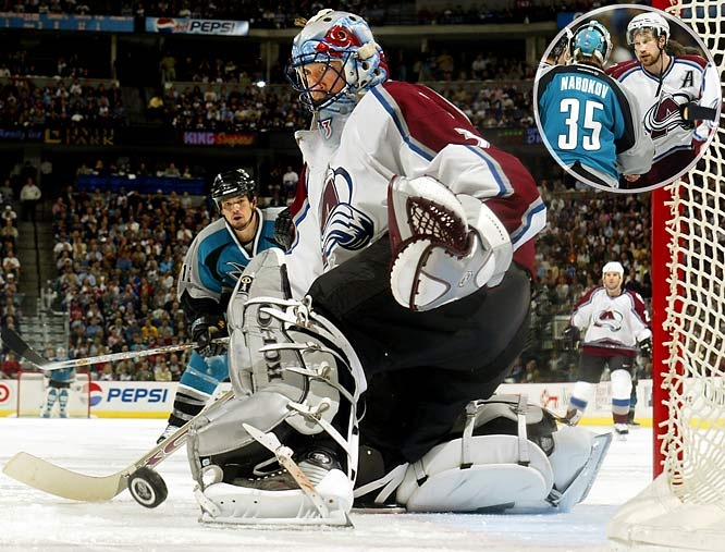 Patrick Roy was masterful in stopping 27 shots -- 16 of them in the third period -- while the Avs nursed Peter Forsberg's second-period goal, especially during San Jose's two-man advantage in the final 55 seconds. Roy outdueled the Sharks' Evgeni Nabokov, who was almost as spectacular, to extend his NHL career record to 22 playoff shutouts as Colorado completed its climb out of a 3-2 series hole.