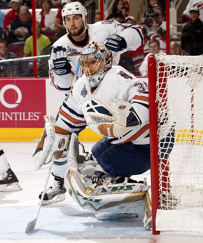 Backstopped by a suddenly hot journeyman goaltender, Dwayne Roloson, the Oilers came out of the weeds in the Western Conference to reach the Stanley Cup final, where they extended the Hurricanes to seven games. The Oilers, who hadn't made the playoffs the previous season or been beyond the first round since 1998, haven't been back to the postseason since their surprising run.