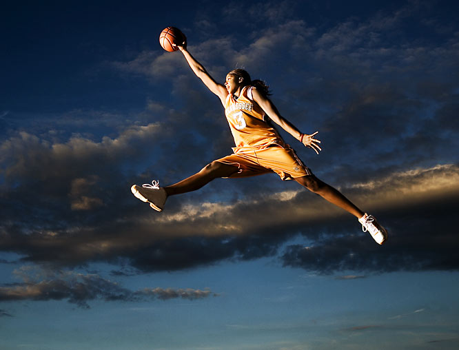 """The University of Tennessee's Candace Parker soars against the Knoxville sky.  It shows her power, grace, style and beauty. She's one of the greatest athletes I've worked with, and I've worked with many."""