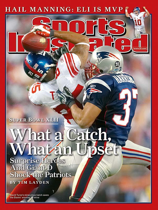What I remember the most about David Tyree's miraculous catch for the Giants against the Patriots in the Super Bowl was that an Arizona security guard supervisor walked in front of the whole line of photographers in the end zone while the play was going on. Fortunately, the best frame from the sequence wasn't blocked by the yellow-jacketed security person.""