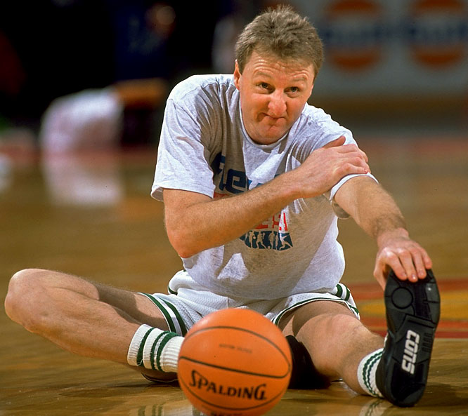 Bird stretches before a game against the Knicks.