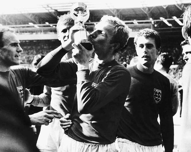 The Swinging Sixties were on display for the entire world to see at England '66, the first World Cup ever broadcast on television. The hosts would go on to win the Cup, but first they had to survive a brutal Group 1 table that included two-time champion Uruguay and up-and-comers Mexico and France. This Group of Death was marked by low-scoring, slug-fest matches, as England and Uruguay moved on despite having scored only six goals between them in six matches, tied for the fewest by advancing first round teams since 1950.