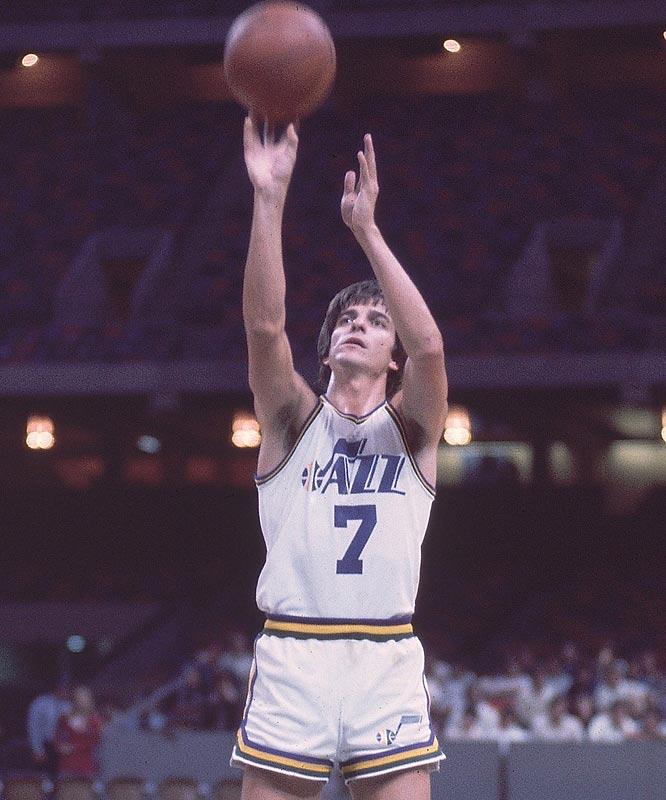 "The Utah Jazz retire Pete Maravich's No. 7 jersey. ""Pistol"" Pete averaged 24.2 ppg in 10 NBA seasons ending in 1979-80."