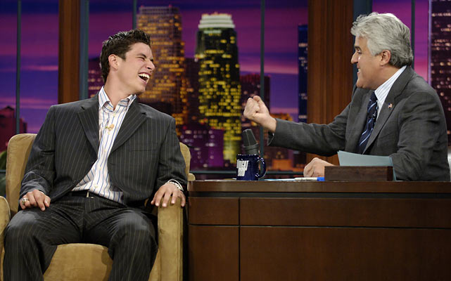 Sidney Crosby, 17, shares a laugh with host Leno during an appearance after the 2005 NHL Draft.