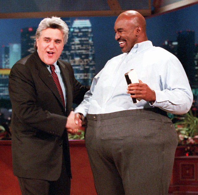 Evander Holyfield dressed in a fat suit during this 1997 interview with Leno.