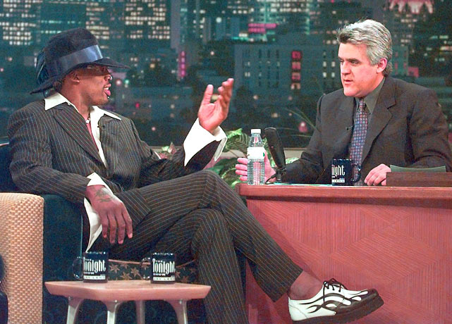Dennis Rodman joined Leno in January 1999 to discuss his first season away from basketball. Four weeks later, he signed a one-year contract to join the Lakers.