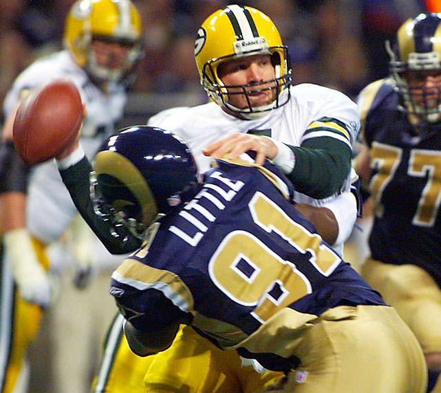 It was advertised as a dream matchup -- Kurt Warner vs. Brett Favre -- in a battle of the league's two best quarterbacks. Favre, however, didn't hold up his end of the bargain as he was picked off six times, two of which were returned for touchdowns. The Rams easily defeated the Packers, 45-17, to advance to the conference championship game.