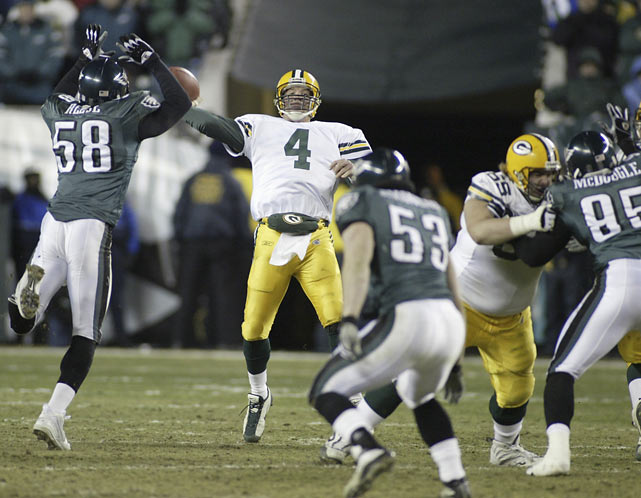 Favre isn't the only who should accept blame for this loss. The Packers defense let Philadelphia convert a fourth and 26 to set up a game-tying field goal at the end of regulation. But Favre choked in overtime, throwing a ball up for grabs that was intercepted by Brian Dawkins. The Eagles took advantage of the miscue and went on to win the game on a David Akers field goal.
