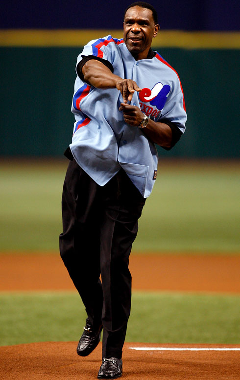 Dawson, seen here throwing out the first pitch before a Marlins-Rays game in July 2009, will be inducted into the Hall of Fame July 25 in Cooperstown, N.Y.