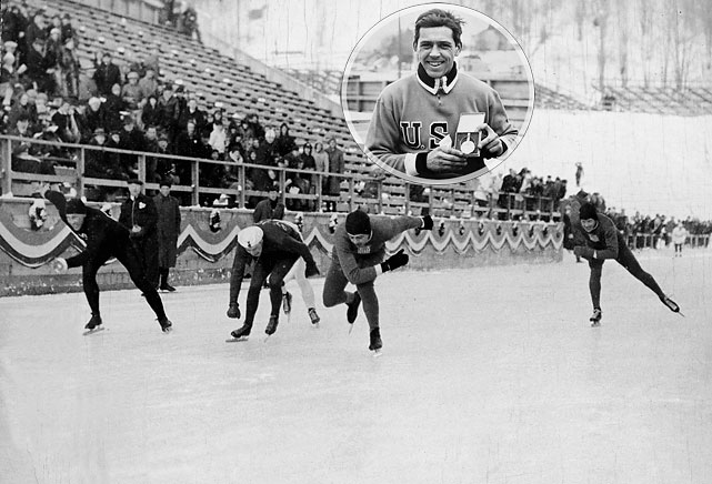"A Lake Placid native and patriarch of a family that produced three generations of Olympians, Shea became the first athlete to win two gold medals in one Winter Games (500m and 1,500m speed skating). His win in the 1,500 was controversial in that European and Scandinavian countries objected to the North American ""pack style"" format used in these Games, and the second 1,500 heat was stopped by officials who accused the skaters of loafing and ordered a restart. Shea and teammate Irving Jaffee ended up winning all four speed skating golds."