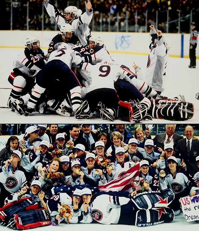 The U.S. men's team disgraced itself by busting up a dorm in the Olympic Village after failing to medal, but the women's squad delivered some honor and redemption by winning America's first gold in hockey since the 1980 Miracle On Ice. Led by forward Cammi Granato, defender Angela Ruggiero, and goaltender Sarah Tueting, the U.S. rolled to gold while outscoring foes by a combined 36-8 and beating archrival Canada twice in four days as women's hockey made its Olympic debut.