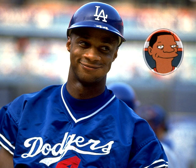 """Episode: Homer at the Bat  First aired: Feb. 20, 1992    Memorable Moments   Homer:  """"You're Darryl Strawberry.""""  Strawberry:  """"Yes?""""  Homer:  """"You play right field.""""  Strawberry:  """"Yes?""""  Homer:  """"I play right field too.""""  Strawberry:  """"So?""""  Homer:  """"Well, are you better than me?""""  Strawberry:  """"Well, I never met you, but...yes.""""   Later on, Strawberry takes right field in the championship game.   Lisa:  """"You stink Strawberry!  We want Home Run Homer!""""  Bart:  """"Darrrryl! Darrrryl!""""  Bart & Lisa:  """"Darrrryl! Darrrryl!""""  Marge:  """"Children, that's not very nice.""""  Lisa:  """"Mom, they're professional athletes. They're used to this sort of thing. It rolls right off their back.""""  Strawberry wipes away a tear from his eye."""