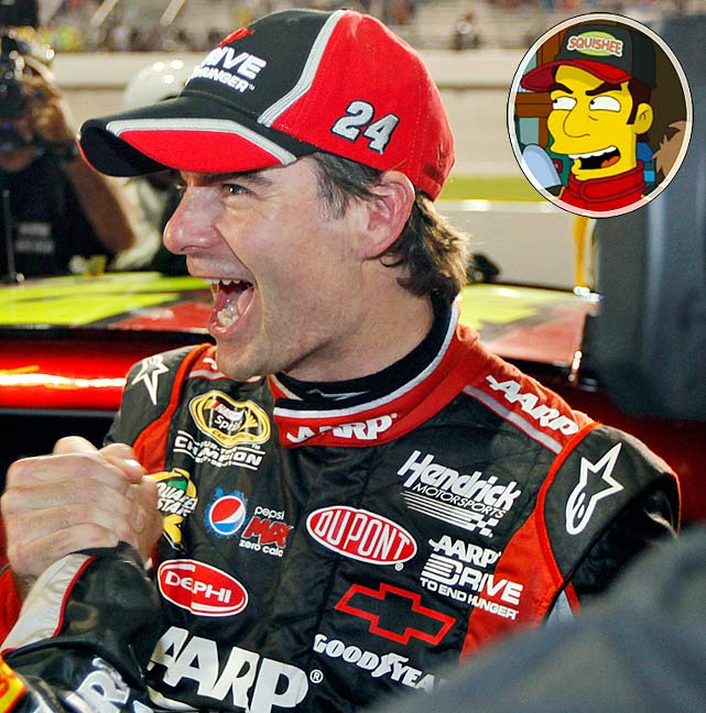 """SI.com takes a look back at every sports figure to appear on the longest-running prime-time show in television history, now in its 24th season, starting with Jeff Gordon, whose brief celebrity cameo made fun of the show's penchant for brief celebrity cameos, according to  Simpsons  executive producer Al Jean.   Episode: Adventures in Baby Getting First aired: Nov. 4, 2012   Memorable Moment   Springfield news anchor Kent Brockman interviews townspeople about a massive sinkhole problem, including Moe at Moe's Tavern   Moe:  """"Eh, you know, in this town, you learn to adjust to things: runaway monorails, NASCAR star Jeff Gordon.""""  Jeff Gordon walks by and waves.   Gordon:  """"Hey, Moe.""""  Moe:  """"Hey.  Bet we never see him again."""""""