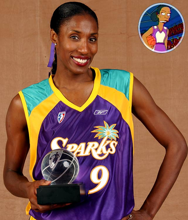 """Episode: Pray Anything First aired: Feb. 9, 2003   Memorable Moment   The Simpson family attends a WNBA basketball game at Springfield Square Garden, where a sign reads: """"Courtside Seats 30 Cents""""   Lisa Simpson:  """"Look, that's Lisa Leslie!  She showed little girls everywhere that they can grow up to be 6-foot-5.""""  Bart:  """"Lisa Leslie, you got game!""""  Leslie:  """"I think you mean I have game.  Try to speak correctly.""""  Bart:  """"You go girl!""""  Leslie:  """"Yes, I will depart, lest your bad grammar rub off on me."""""""