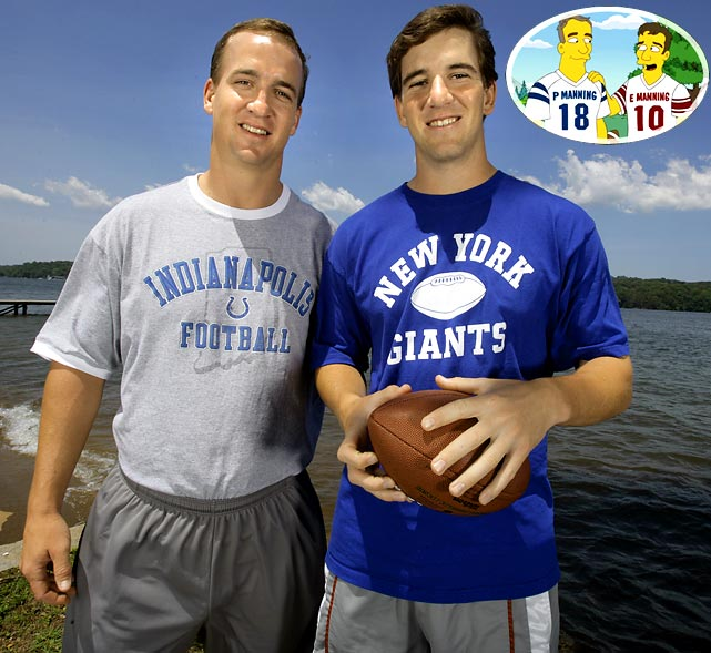 """Episode: O Brother, Where Bart Thou? First aired: Dec. 13, 2009   Memorable Moment   During Bart's dream of having a brother, Peyton and Eli are seen throwing footballs through a tire.   Peyton:  """"That's a perfect spiral, Eli.""""  Eli:  """"Winning a Super Bowl just doesn't compare to chuckin' the ball around with my brother.""""  Their older brother Cooper shows up.   Cooper:  """"It's easy being a winner in the pros.  Try winning two high school basketball championships like I did.""""  Eli:  """"Good for you, Squirt.""""  Cooper:  """"I'm the oldest!""""  Peyton [singing]:  """"Keep away from Cooper!""""  Cooper [whimpers]:  """"Hey!""""  Peyton and Eli play keep away with a football and laugh at Cooper."""