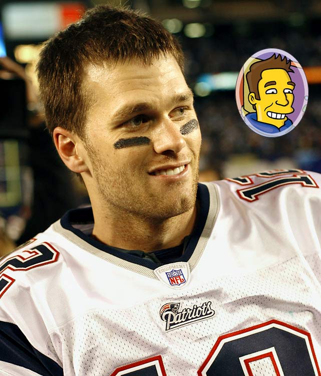 "Episode: Homer and Ned's Hail Mary Pass <br>First aired: Feb. 6, 2005 <br><br>Memorable moment:<br><br>After scoring a touchdown, Brady rides a segway scooter down the field, saying: <i>""Everyone sucks but me,""</i> and dragging a banner that reads the same."