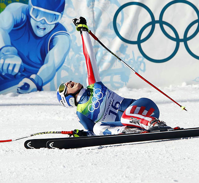 Vonn collapsed at the end of the run, celebrating the first gold in the downhill by a woman in American Olympic history.