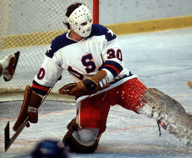 After the Soviets regained the lead 2-1 on a goal by Sergei Makarov, U.S. goalie Jim Craig stepped up his play between the pipes.  Craig faced 18 shots in the first period alone.