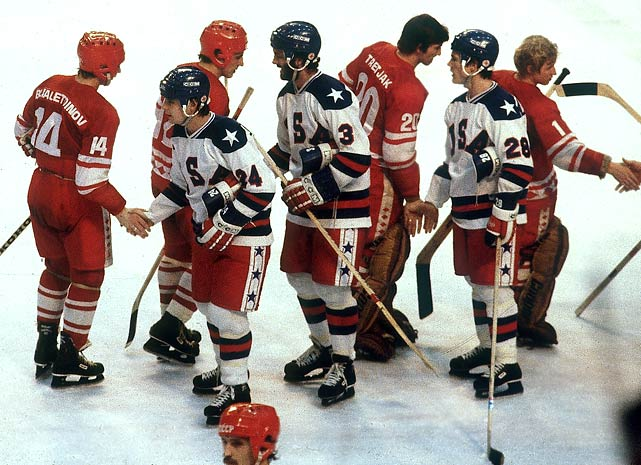 Players from both teams meet at center ice to shake hands following the game.