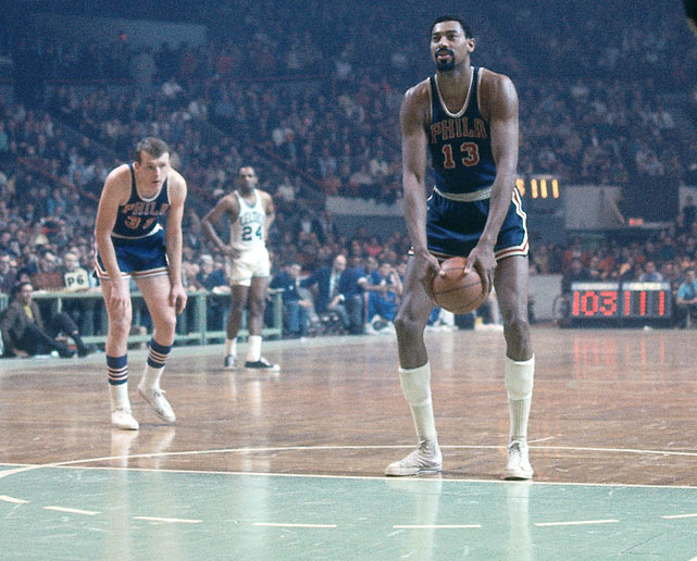 Philadelphia's Wilt Chamberlain attempts an NBA record 34 free throws in a 139-121 Warrior victory over St. Louis.