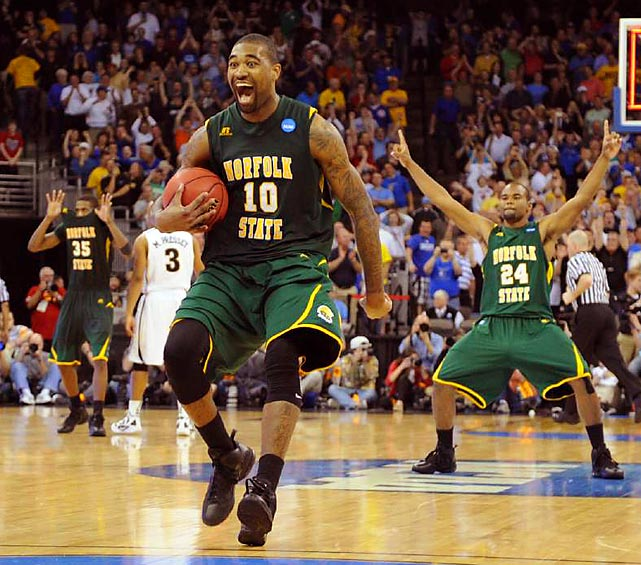 Kyle O'Quinn (10) had 26 points and 14 rebounds, making several key plays in the closing minutes, and Norfolk State held on to stun Missouri 86-84 in the West Regional. The Spartans, who won the MEAC, made their first trip to the NCAA tournament a memorable one, becoming the fifth No. 15 seed to beat a No. 2 and the first since fellow conference member Hampton in 2001.
