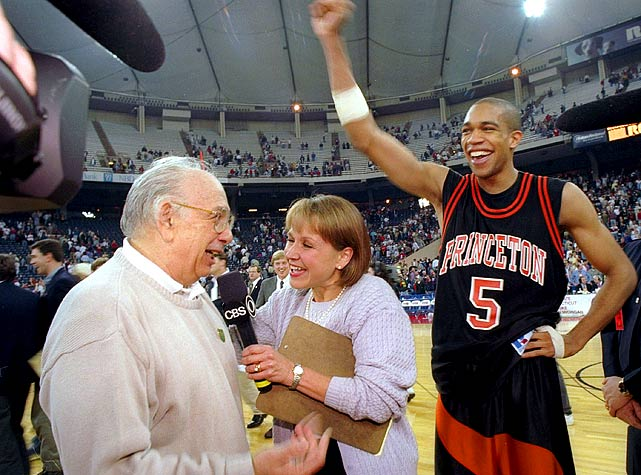 Princeton's Pete Carril had announced that he would be retiring following the season less than a week before this game. UCLA, the defending national champion, represented the iconic coach's last chance to pull off an NCAA tournament shocker. Amazingly, the Tigers shut out the Bruins over the final six minutes. Then in the waning seconds, Steve Goodrich found Gabe Lewullis on a classic Princeton backdoor cut and the rest is history.