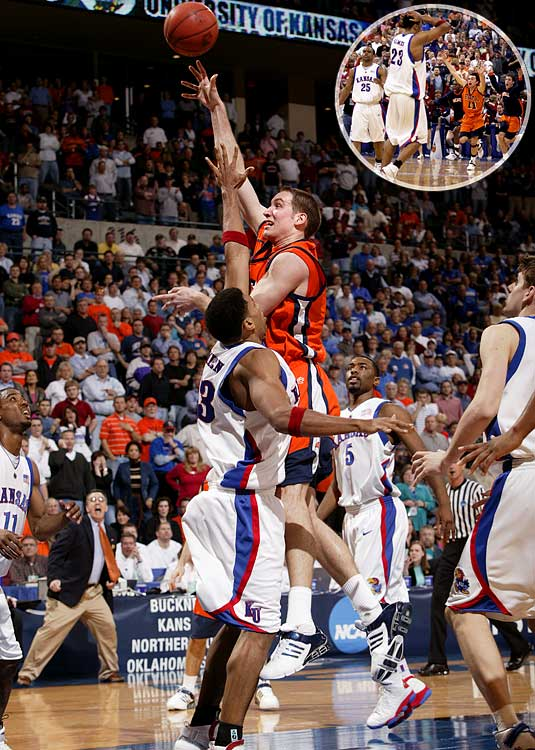Bucknell certainly fit the underdog billing. The Bison had only five scholarship players and had to borrow the band from Northern Iowa because theirs was on spring break. Bucknell's Chris McNaughton banked in the winning hook shot with 10.5 seconds to go, and Wayne Simien missed a jump shot at the buzzer. It was the first opening-round loss for the Jayhawks in their past 21 tries and the first tournament win ever for the Bison (or any team from the Patriot League, for that matter).