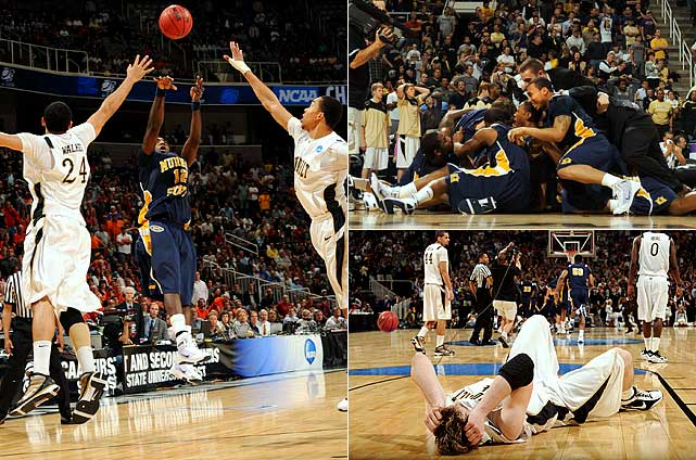 Danero Thomas hit a 15-footer as the buzzer sounded and 13th-seeded Murray State stunned No. 4 seed Vanderbilt 66-65 in its 2010 tournament opener.  It was the school's first victory in the NCAA tournament since a 78-75 win over North Carolina State in 1988.