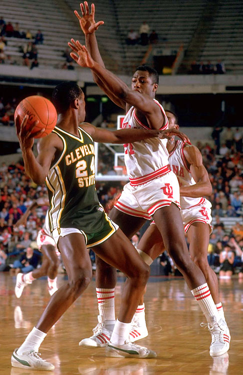 "Kevin Mackey's Vikings stunned Bobby Knight's Hoosiers with an aggressive ""Run n' Stun"" style. Cleveland State advanced to the Sweet 16, where it lost to David Robinson and Navy."