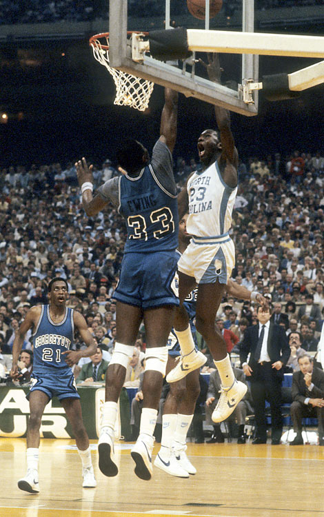 Ewing wasn't the only 19-year-old freshman playing in the 1982 National Championship game. North Carolina's Michael Jordan hit the game-winning jumper from the left wing with 17 seconds to go.