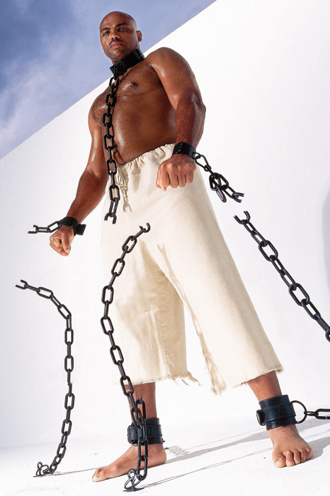 A locked and chained Barkley made headlines for this 2002 SI photo shoot.