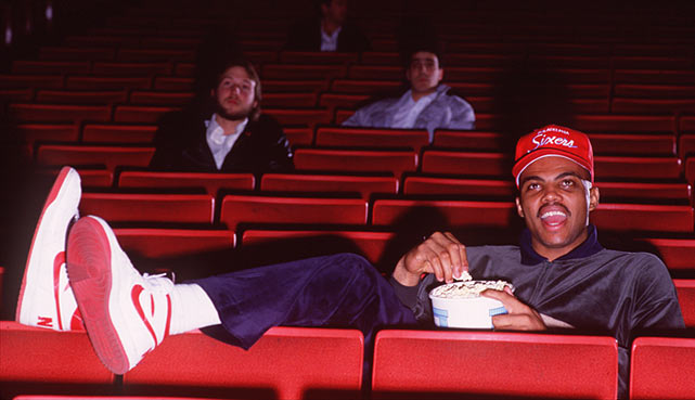 Barkley's gregarious personality quickly made him a fan favorite. In this photo, the Alabama native takes in a movie at a Philadelphia movie theater.
