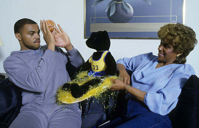 Barkley and his mother, Charcey Glenn, enjoy some down time at Barkley's Philadelphia home.