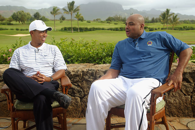 Tiger Woods interviews Barkley in Kauai, Hawaii. Despite Barkley's attempts to learn how to properly swing a golf club, the two are close friends.