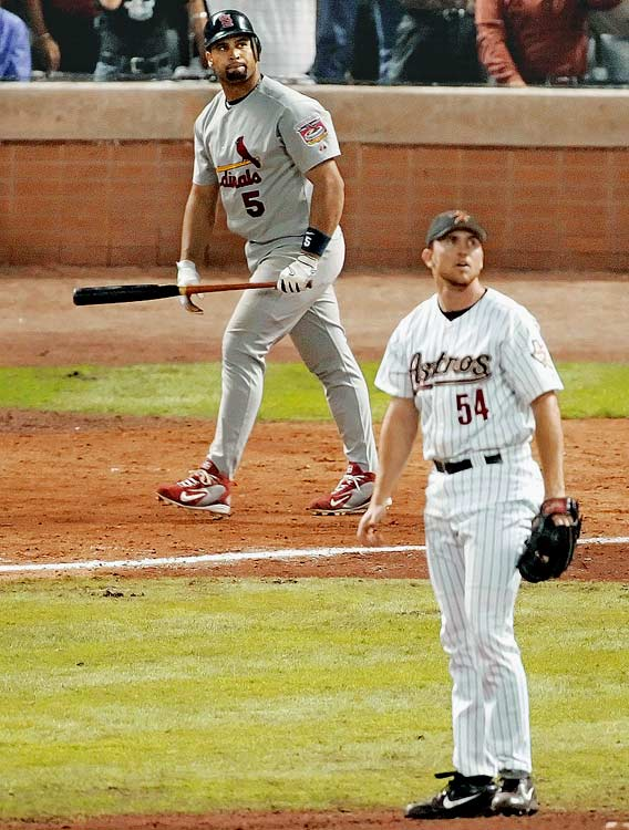 The Astros were one out away from celebrating their first NL pennant in 2005 when Albert Pujols hit a shocking three-run home run off closer Brad Lidge to put St. Louis ahead 5-4. Houston wound up winning the NLCS in Game 6.