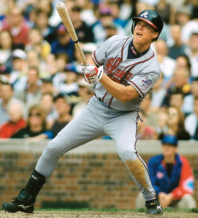 Chipper Jones ended a dazzling 1999 season with a huge final month (.303, 10 home runs, 23 RBIs) to lead the Braves over the Mets in the NL East. The switchhitter would go on to win MVP honors.
