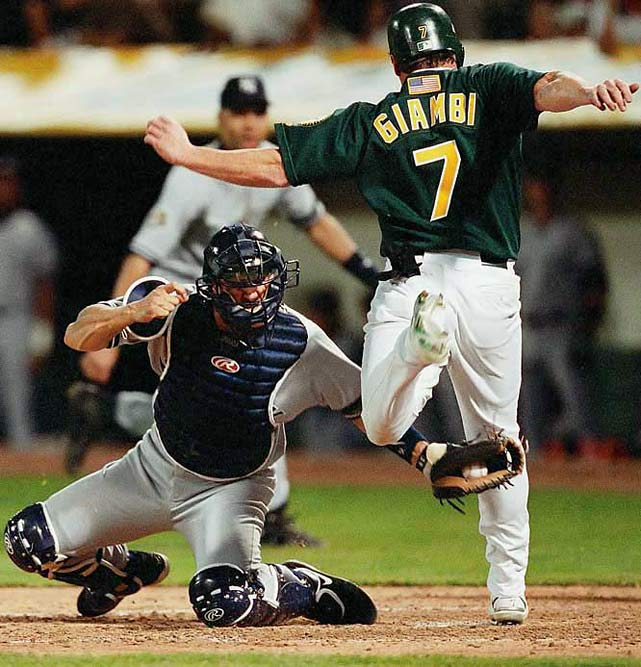 Derek Jeter redirected an errant relay throw with a flip to home plate, nailing Jeremy Giambi in Game 3 of the 2001 ALDS and kickstarting the Yankees' comeback from an 0-2 series deficit against Oakland.