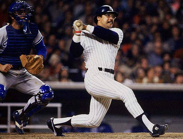 Reggie Jackson homered in three consecutive at-bats during Game 6 against the Dodgers in 1977 to clinch the Yankees' first World Series title since '62.