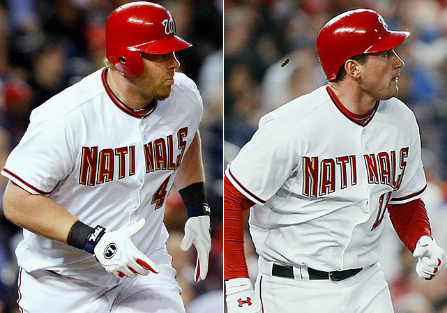 """In a game against the Marlins on April 17, 2009, the Washington Nationals sent their two best hitters, Adam Dunn and Ryan Zimmerman, onto the field wearing """"Natinals"""" jerseys for three innings."""