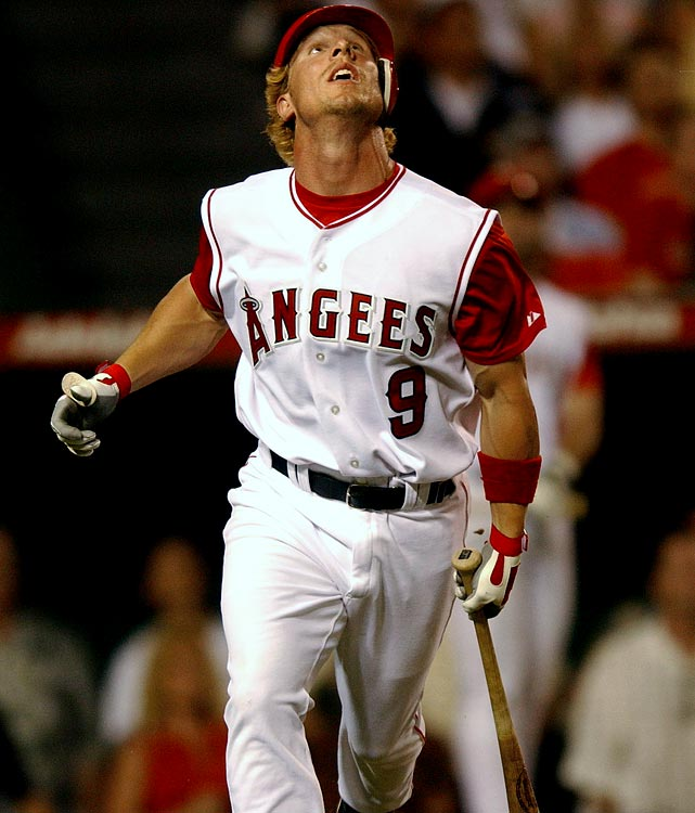 """Minor league journeyman Adam Riggs wasn't up with the Angels for very long in 2003 before he took left field in a home game against the Tigers on Aug. 16 with a sleeveless jersey that read """"A-N-G-E-E-S"""" across the front. Riggs didn't realize the mistake until his hysterical teammates sat him down in the dugout between innings and broke the news to him."""