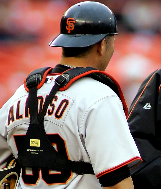 """Eliezer Alfonzo made his big league debut June 3, 2006 with his name misspelled on his jersey (it should end in """"zo,"""" not """"so"""").  Alfonzo hit a two-run shot in the sixth inning that ultimately won the game against the Mets, which may have explained why his jersey was still misspelled in the Giants' next game the following day."""