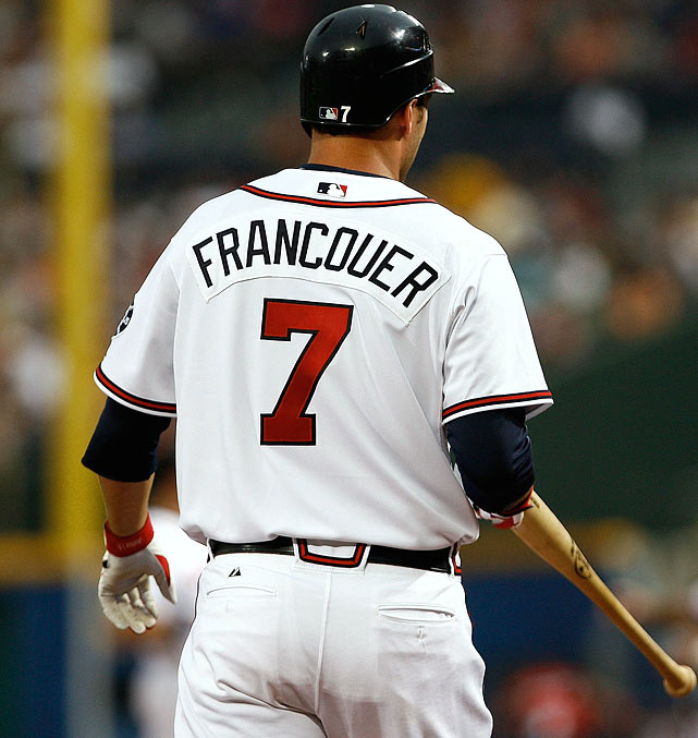 """Jeff Francoeur, wearing a jersey with the """"e"""" and """"u"""" in his name switched, went 0-for-4 with the Braves in a game against the Giants on Aug. 16, 2007."""
