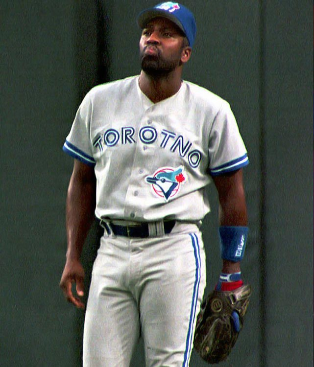 """Joe Carter wore this jersey with the """"n"""" and second """"t"""" in """"Toronto"""" reversed for six innings during a game in Texas on July 14, 1994."""